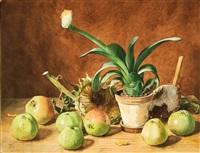 stilleben mit äpfeln und sumpfcalla by erich lindenau