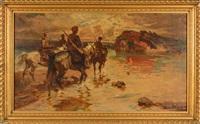 cavaliers au coucher de soleil by mykola samokysh