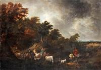 italiserande landskap med ridande sällskap by johannes van der bent