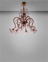 early and rare six-armed chandelier by vetreria fratelli toso