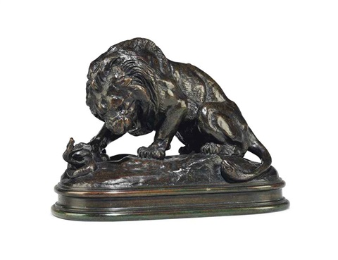 lion au serpent no 2 by antoine louis barye