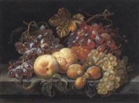 stilleben mit weintrauben, pfirsichen und zwetschken by abraham mignon