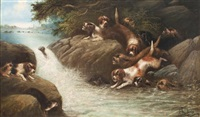 dogs hunting otter in river (2 works) by edward armfield