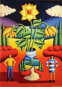 soft vase with soft flowers & couple by alan kenny