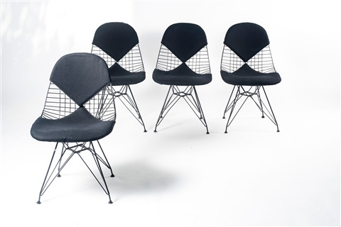 Four Wire Mesh Chairs On H Base With Bikini Cover By Charles Eames ...