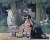pierrot dans un parc by charles-auguste edelmann
