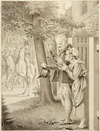 der freiwillige jäger. vorzeichnung für eine illustration im großherzogl. hessischen hofkalender by friedrich moritz august retzsch
