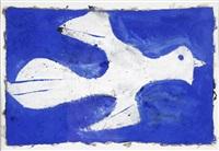 fliegen, weißer vogel auf blauem grund by herbert achternbusch