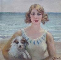 fanciulla con cane in riva al mare by giuseppe maldarelli