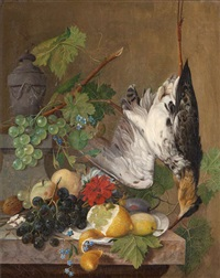 nature morte aux fruits et volaille by cornelis van spaendonck