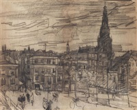 a view of the oudebrugsteeg and the oude kerk, amsterdam by isaac israels