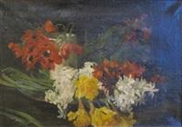bouquet de jonquilles, jacinthes et anémones by gustave jeanneret