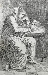 eine trauernde weibliche figur, ein gefäß in den händen haltend by alexander runciman