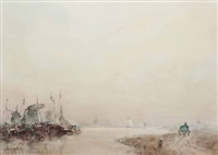 road by the river, dordrecht by john ernest aitken