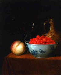 strawberries in a wanli kraak bowl, a peach, a façon de venise wine glass and a stoneware ewer on a draped table by adriaen s. coorte