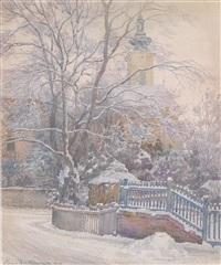 kirche in ober st. veit im schnee by hans götzinger