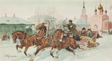 troika racing through town by boris mikhailovich kustodiev