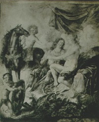 an allegorical scene with mars and venus, two cupids and a horse by peeter (pieter) rottermondt