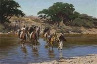 eine gruppe abessinier überquert einen fluss by hugo ungewitter