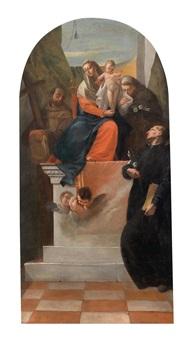 die heilige familie mit den heiligen franziskus, antonius von padua und gaetano von thiene by francesco zugno the younger