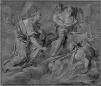 juno asking jupiter to calm the storm unleashed by aeolos to destroy the fleet of aeneas by johann justin preissler