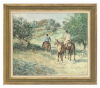 exercising the horses, richmond park by norman hepple
