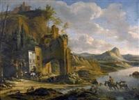 italienische landschaft mit reitern und ruinen by horatius de hooch
