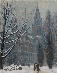 rathaus und rathauspark im winter by ferdinand zach