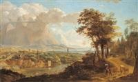 weite flusslandschaft mit einer befestigten anlage und hirten by l. e. jandon