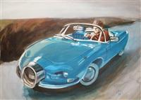 spirou dans une voiture décapotable bleue by christian de metter
