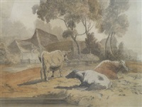 cattle before a farmhouse by robert hills