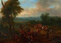 une route de campagne animée de nombreux personnages, cavaliers et de chariots by theobald michau