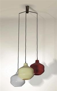 lampada da sospensione con tre bocce by massimo vignelli