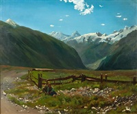 jeunes paysans se reposant dans les pâturages by johann rudolf koller