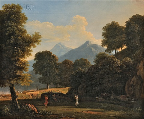 mountainous landscape with classical figures by jean victor bertin