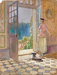 l'épouse ou la fille de l'artiste dans leur propriété des brochards à blois by william ablett