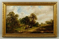 Rural English countryside landscape with figures