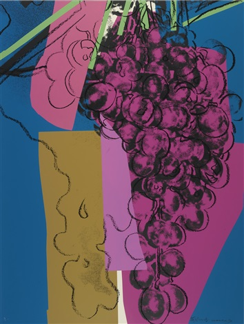 Andy Warhol Grapes 1979 Screenprint with purple grapes and blue background FS 192