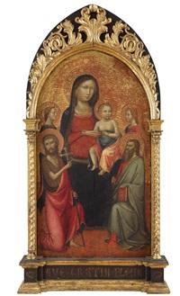 madonna mit kind zwischen den heiligen johannes der täufer, paulus und zwei weiblichen heiligen by lippo d'andrea (ambrogio di baldese)