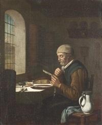 interieur mit lesendem mann by job adriaensz berckheyde