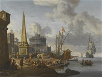 a fortified mediterranean port with an obelisk and a galley moored nearby by abraham jansz storck
