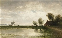 a polder landscape by johannes gysbert vogel the younger