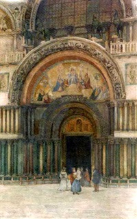 figures outside the basilica san marco, venice by s. neve