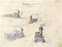skizzen längs der k. k. priv. kronprinz rudolfbahn, in drei bänden (3 sketchbooks) by franz holzlhuber