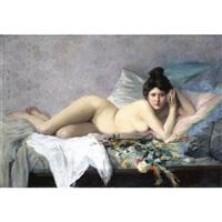 femme aux fleurs by francois-maurice lard