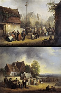 kermis in de stad (+ kermis in het dorp; pair) by félix van den eycken