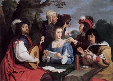 An elegant party making music, smoking and drinking in a
