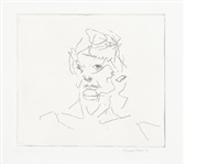 julia, six etchings of heads by frank auerbach