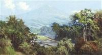 javanese landscape with volcano by soerjosoebroto abdullah