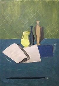 stillleben mit offenem buch by henry wabel